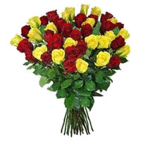 Send Red Yellow Roses Bouquet 50 Flowers Delivery in India