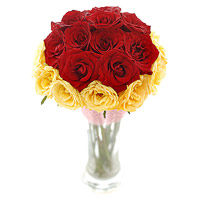 Online Red Yellow Roses Vase 24 Flowers