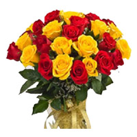 Online Red Yellow Roses Bouquet 24 Flowers Delivery in India
