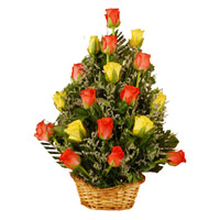 Red Yellow Roses Basket 18 Flowers to India