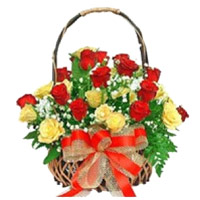 Red Yellow Roses Basket 24 Flowers Delivery in India