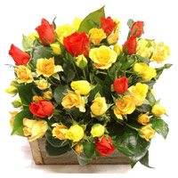 Online Red Yellow Roses Basket 40 Flowers