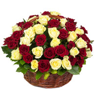 Online Red Yellow Roses Basket 50 Flowers Delivery in India