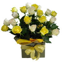White Yellow Roses Basket 20 Flowers to India