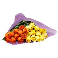 Yellow Orange Roses Bouquet 24 Flowers Delivery in India