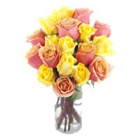 Send Yellow Pink Roses Vase 15 Flowers