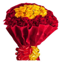 Online Red Yellow Roses Bouquet 50 Flowers to India