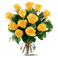 Flowers to India : 12 Yellow Roses Vase
