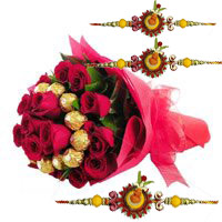 Buy 16 pcs Ferrero Rocher 24 Red Roses Bouquet to India