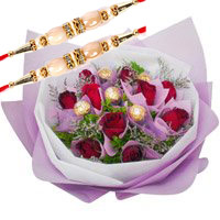 Deliver Rakhi to India send Rakhi with Red Roses Ferrero Rocher Bouquet