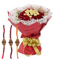 Send 16 Pcs Ferrero Rocher Chocolate encircled with 20 Red Roses