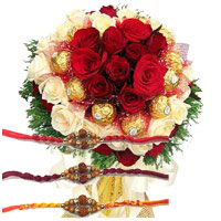 Send 36 Red White Roses 16 Pcs Ferrero Rocher Bouquet to India