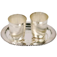 2 Pcs Silver Glasses in Silver Tray for karwa chauth gifts